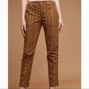 Anthropologie Stripe Cotton Casual Cargo Pant